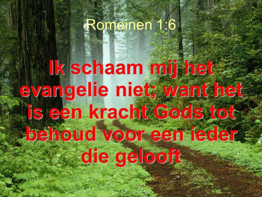 Romeinen 1:6 Ik schaam mij het evangelie niet; want het is een kracht Gods tot behoud voor een ieder die gelooft.