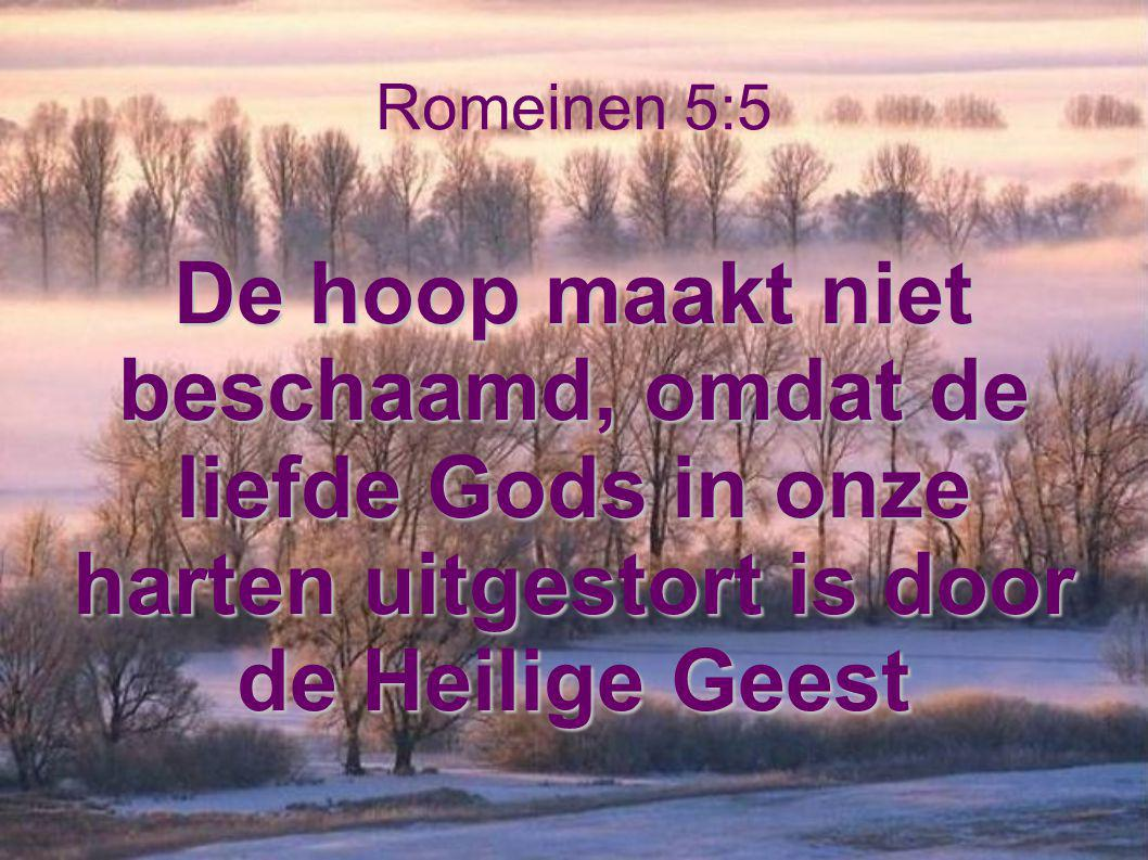 Romeinen 5:5 De hoop maakt niet beschaamd, omdat de liefde Gods in onze harten uitgestort is door de Heilige Geest.