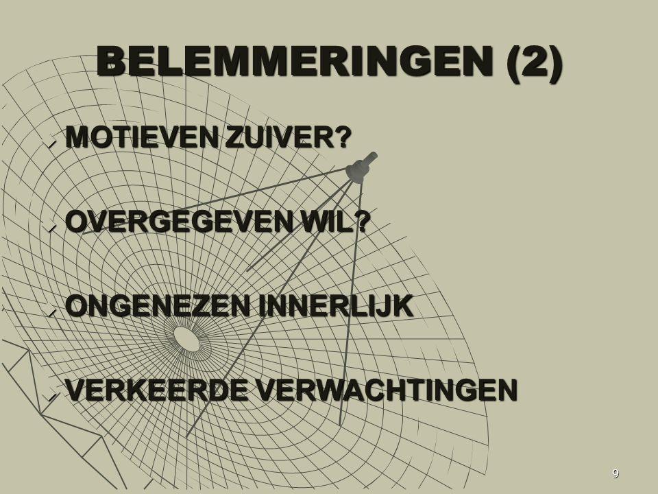 BELEMMERINGEN (2) MOTIEVEN ZUIVER OVERGEGEVEN WIL