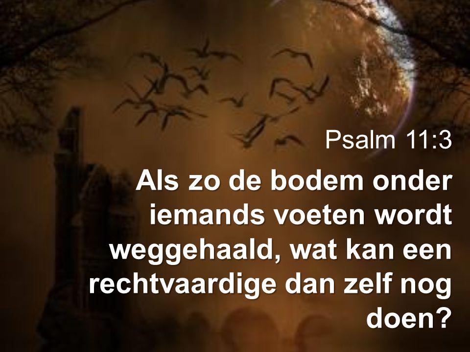 Psalm 11:3 Als zo de bodem onder iemands voeten wordt weggehaald, wat kan een rechtvaardige dan zelf nog doen