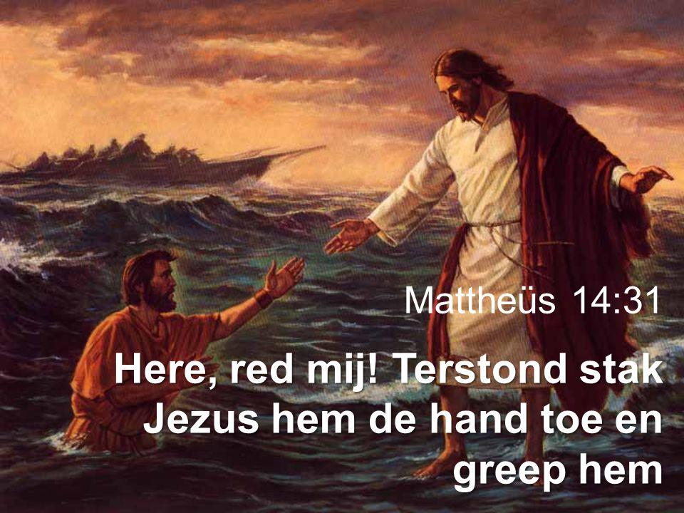 Here, red mij! Terstond stak Jezus hem de hand toe en greep hem
