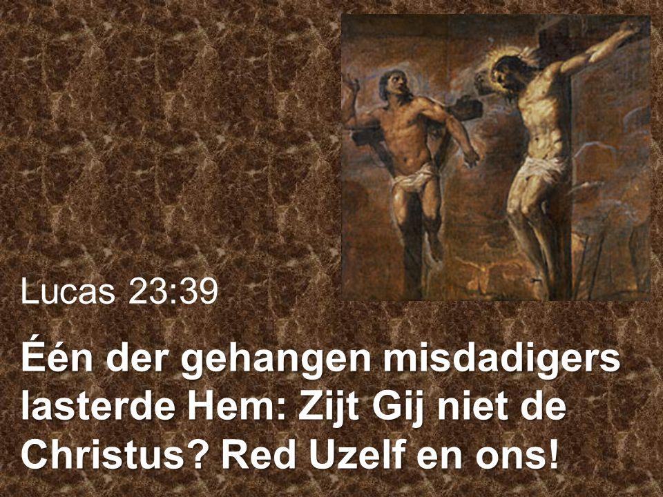 Lucas 23:39 Één der gehangen misdadigers lasterde Hem: Zijt Gij niet de Christus Red Uzelf en ons!