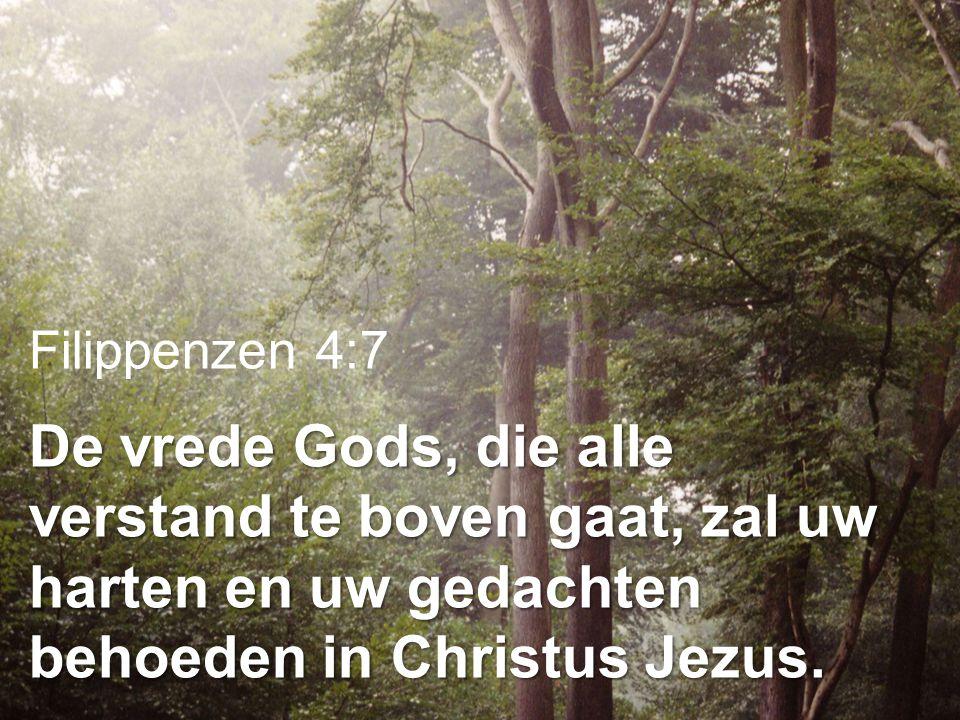 Filippenzen 4:7 De vrede Gods, die alle verstand te boven gaat, zal uw harten en uw gedachten behoeden in Christus Jezus.