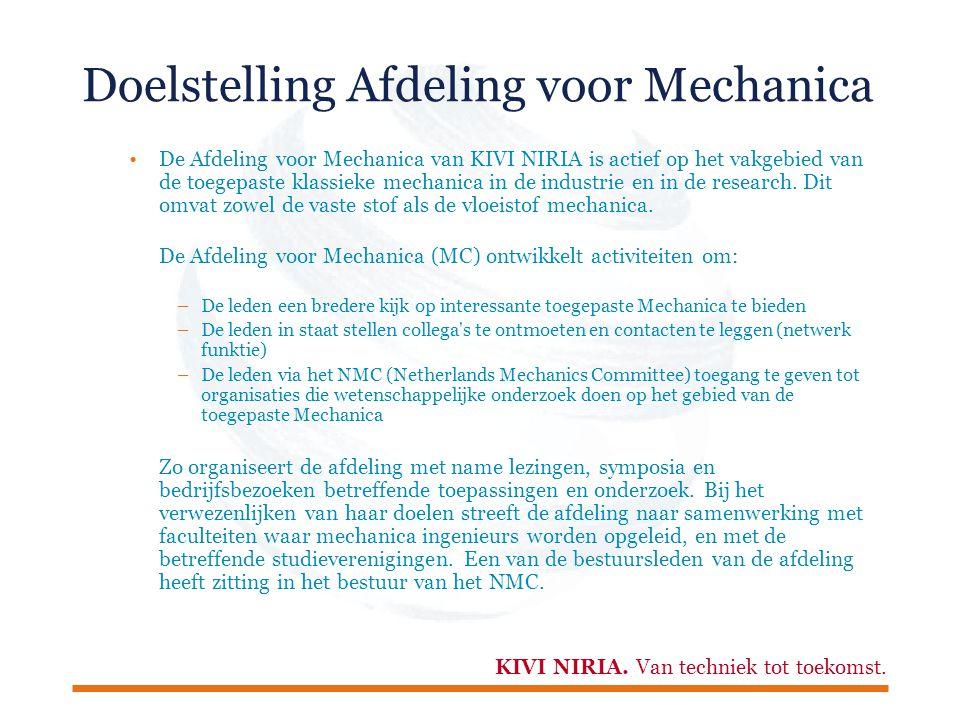 Doelstelling Afdeling voor Mechanica