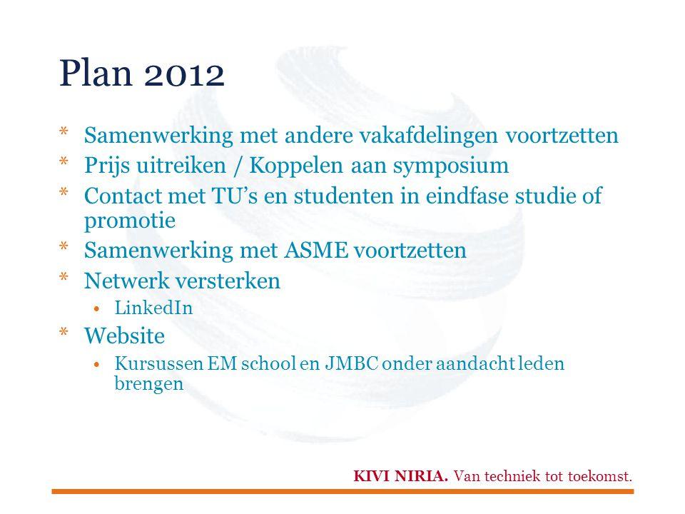 Plan 2012 Samenwerking met andere vakafdelingen voortzetten