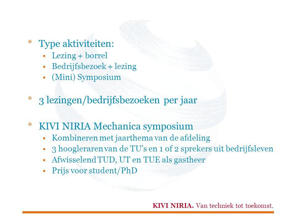 3 lezingen/bedrijfsbezoeken per jaar KIVI NIRIA Mechanica symposium