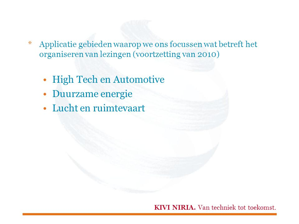 High Tech en Automotive Duurzame energie Lucht en ruimtevaart