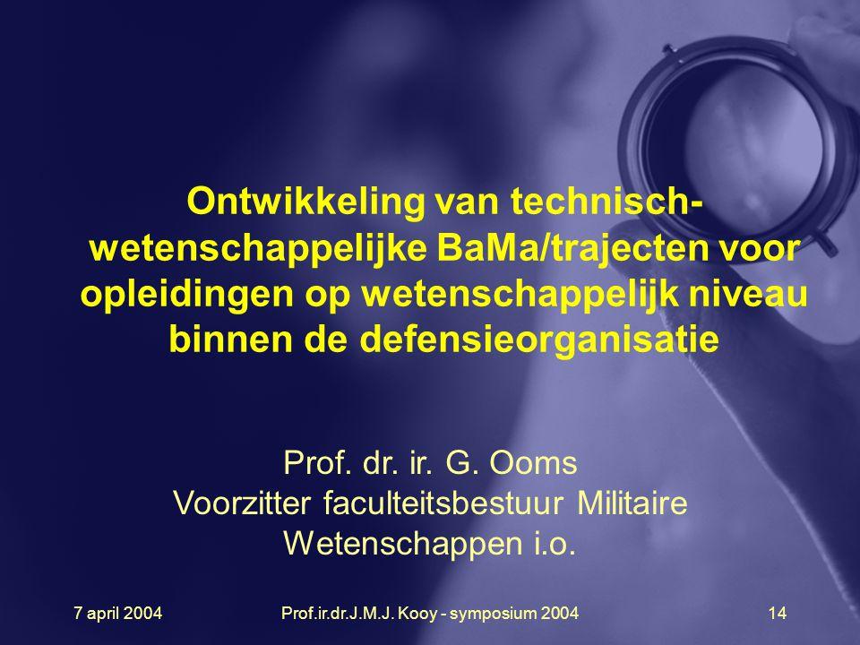 Ontwikkeling van technisch-wetenschappelijke BaMa/trajecten voor opleidingen op wetenschappelijk niveau binnen de defensieorganisatie