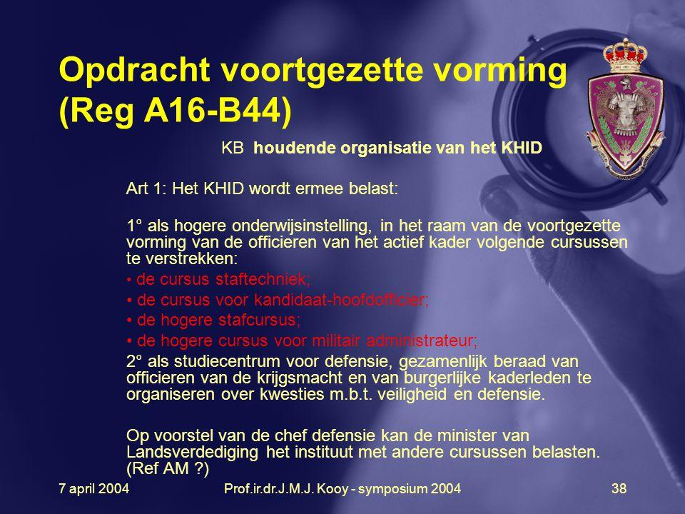 Opdracht voortgezette vorming (Reg A16-B44)