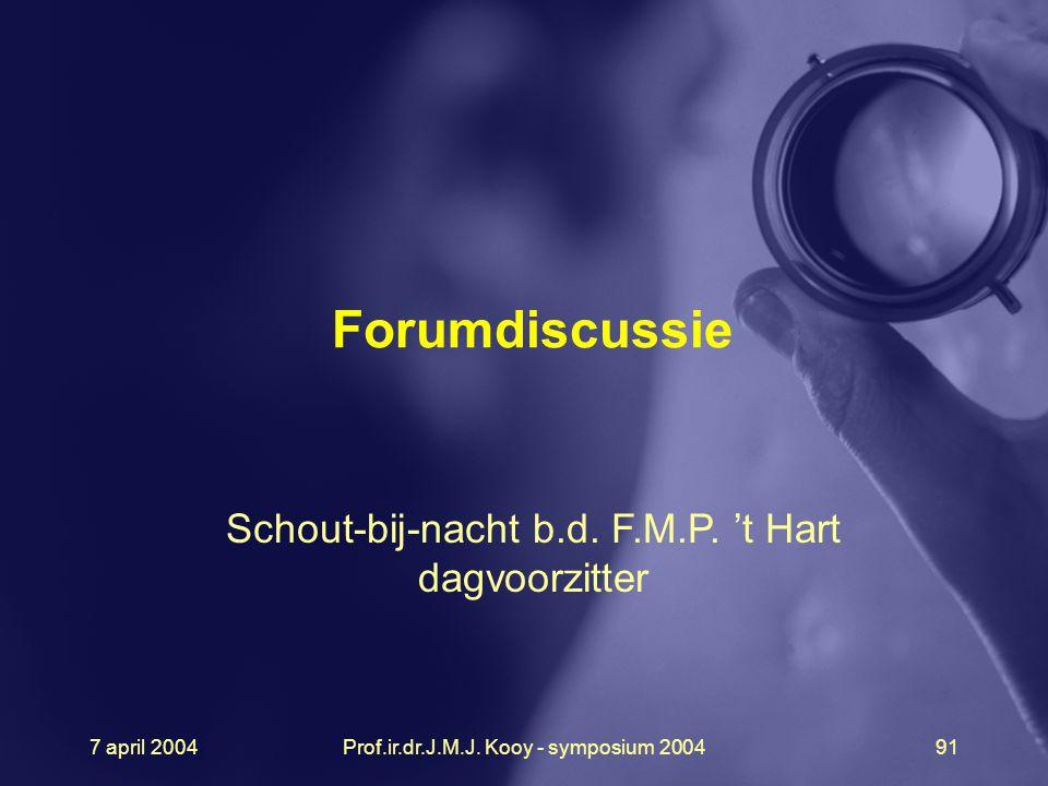 Forumdiscussie Schout-bij-nacht b.d. F.M.P. 't Hart dagvoorzitter