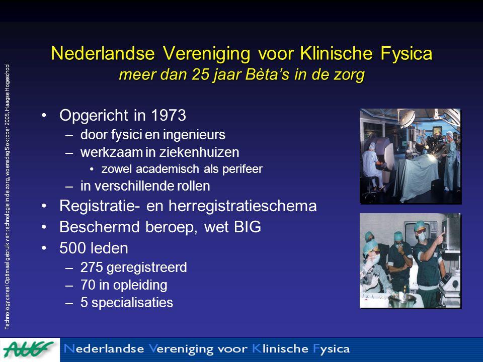 Nederlandse Vereniging voor Klinische Fysica meer dan 25 jaar Bèta's in de zorg