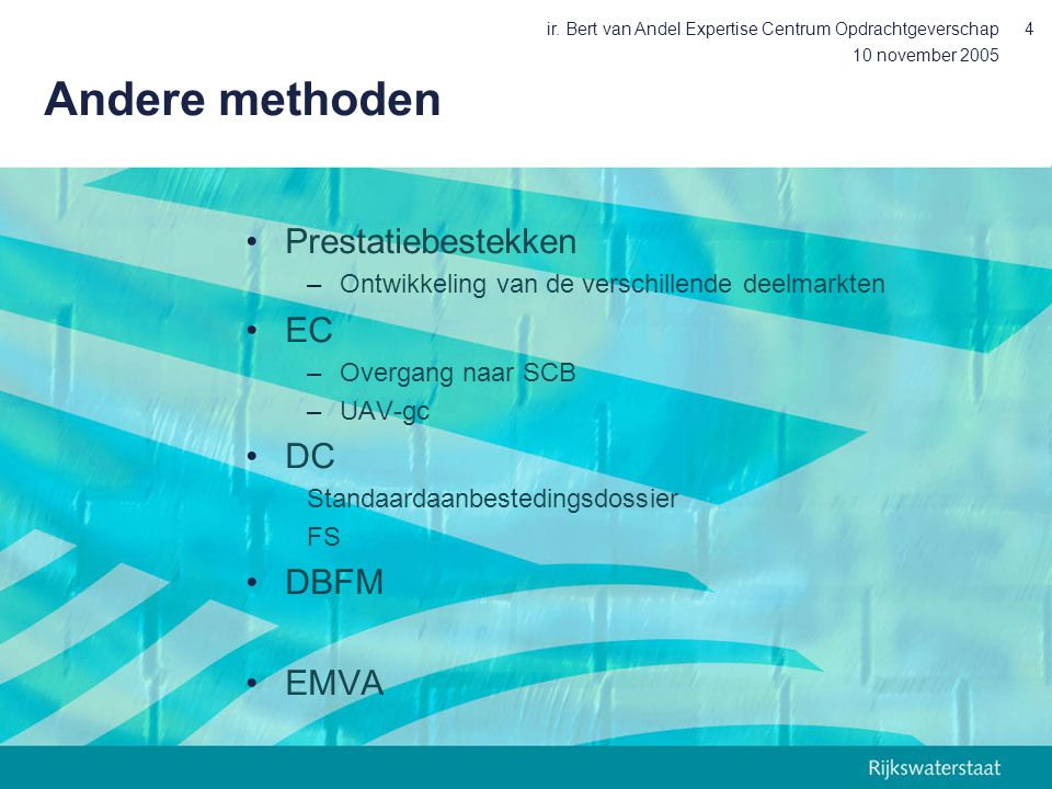 Andere methoden Prestatiebestekken EC DC DBFM EMVA
