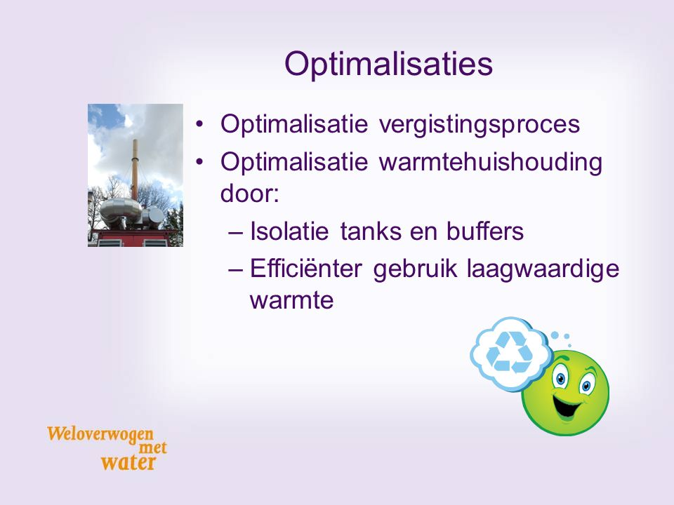 Optimalisaties Optimalisatie vergistingsproces