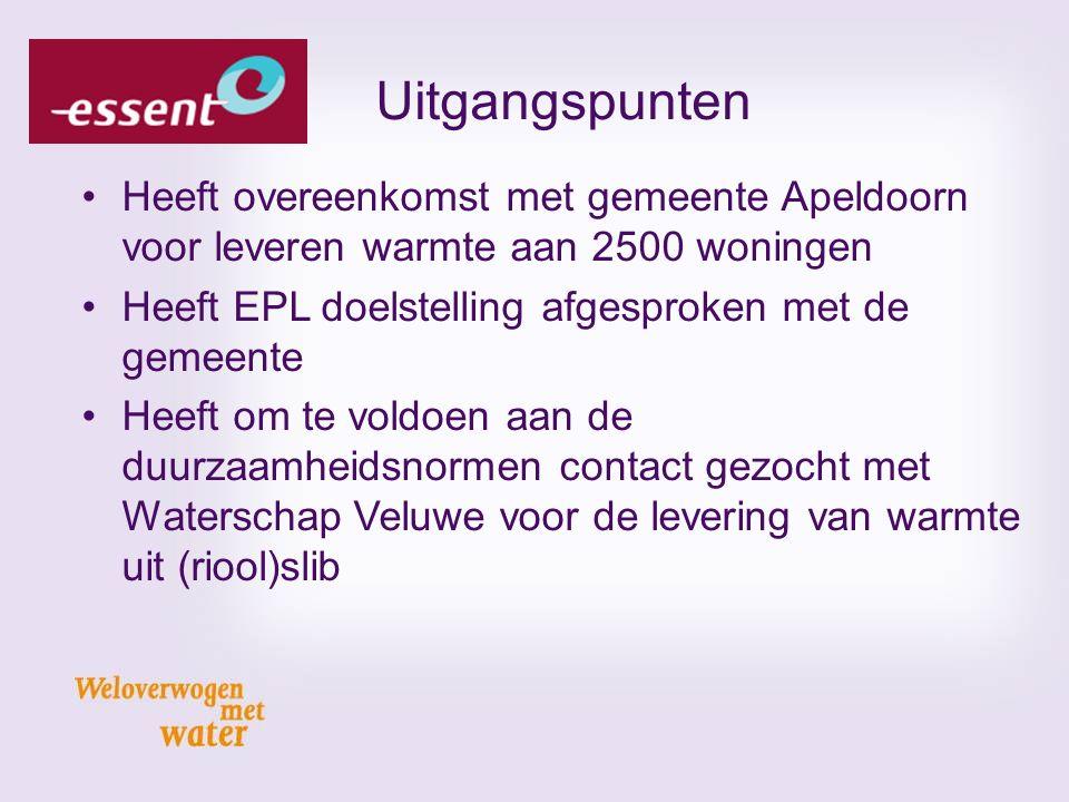 Uitgangspunten Heeft overeenkomst met gemeente Apeldoorn voor leveren warmte aan 2500 woningen. Heeft EPL doelstelling afgesproken met de gemeente.