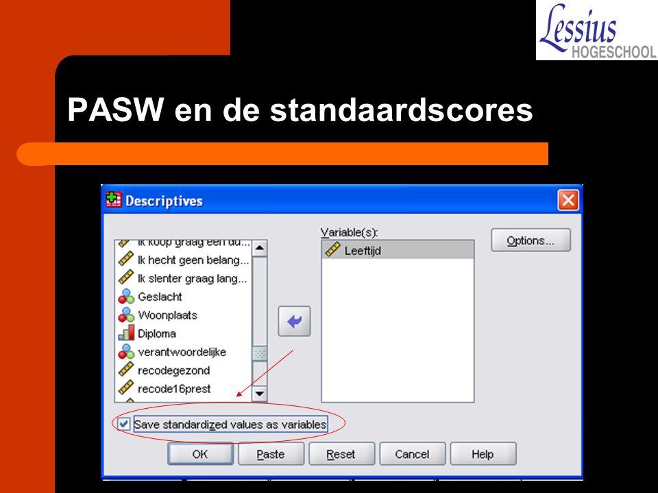 PASW en de standaardscores