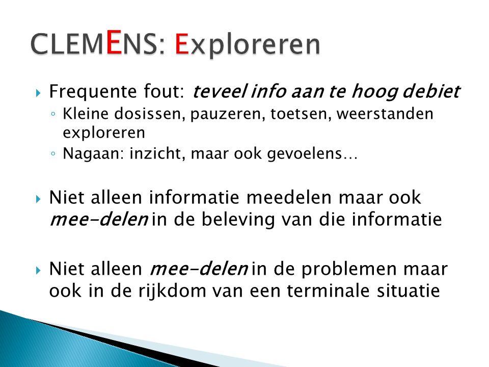CLEMENS: Exploreren Frequente fout: teveel info aan te hoog debiet