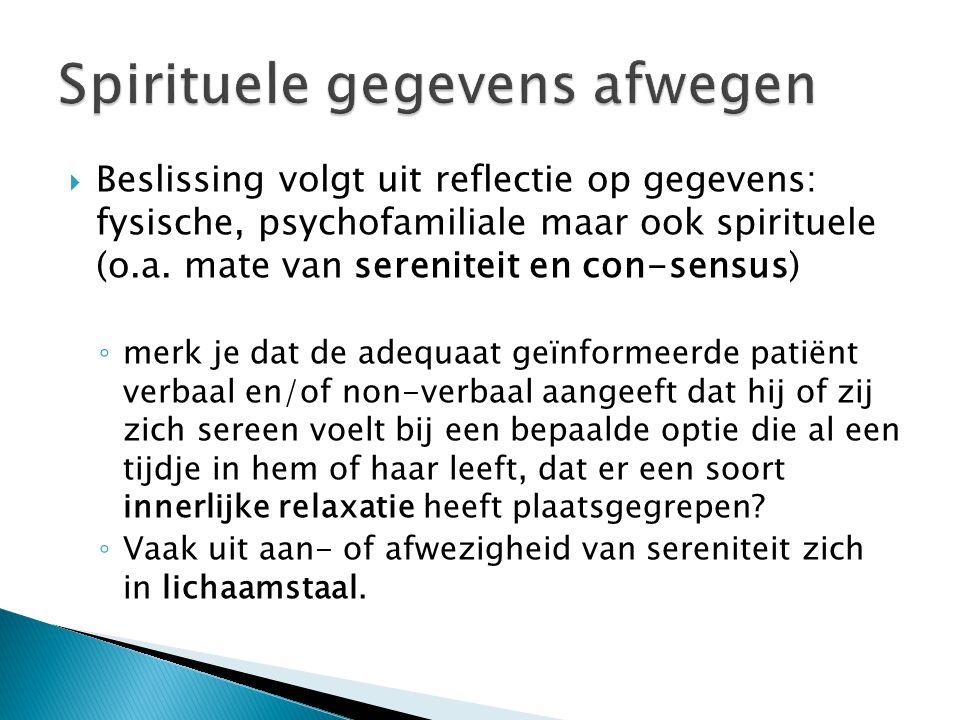Spirituele gegevens afwegen
