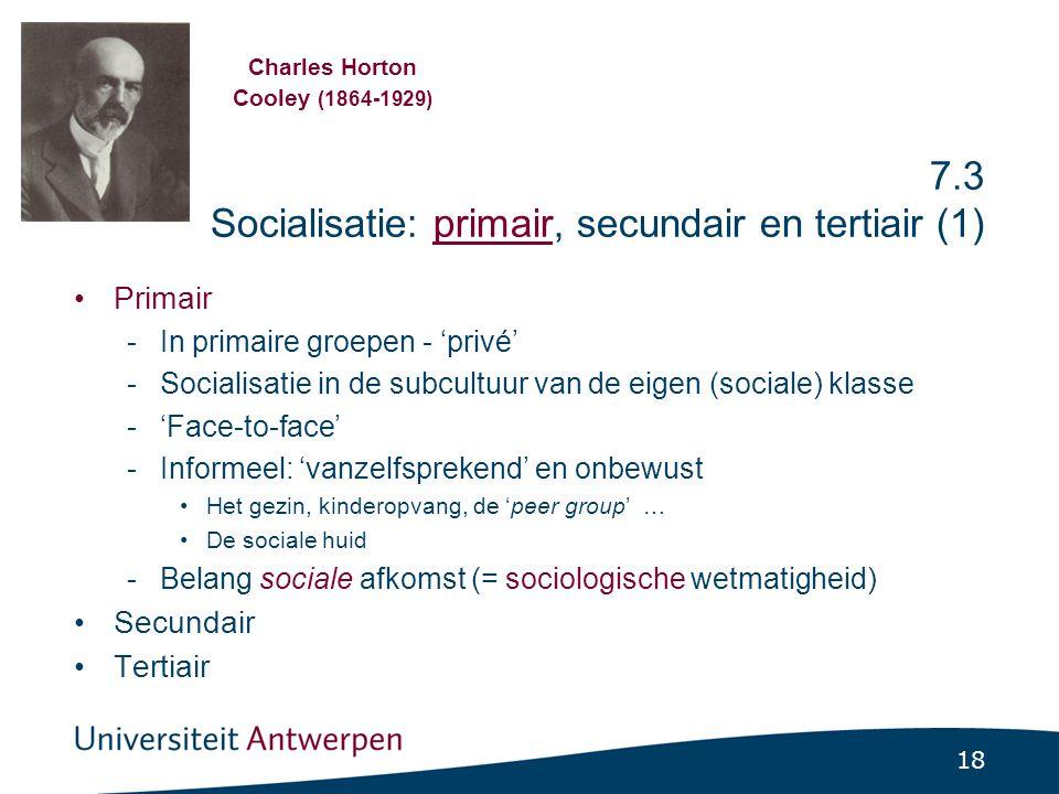 7.3 Socialisatie: primair, secundair en tertiair (2)