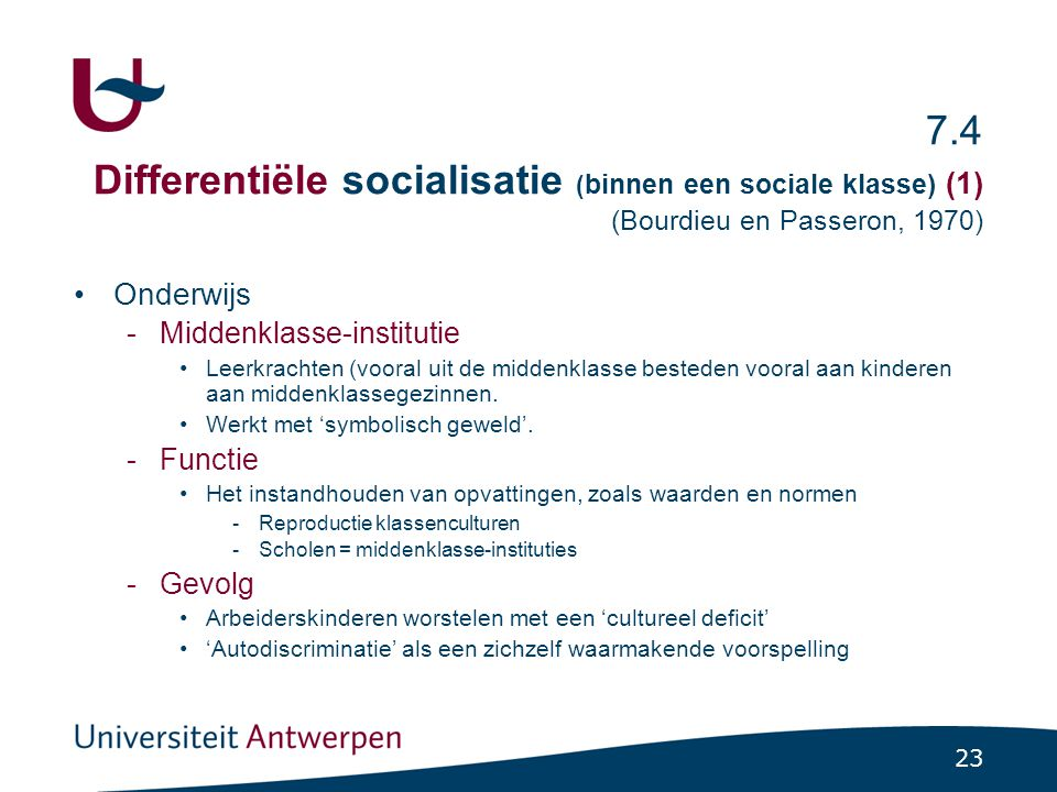 7.4 Differentiële socialisatie (binnen een sociale klasse) (2) (Bernstein, 1975; 1924-2000 )