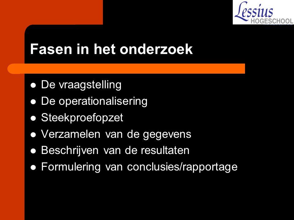 Fasen in het onderzoek De vraagstelling De operationalisering