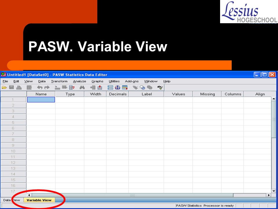 PASW. Variable View