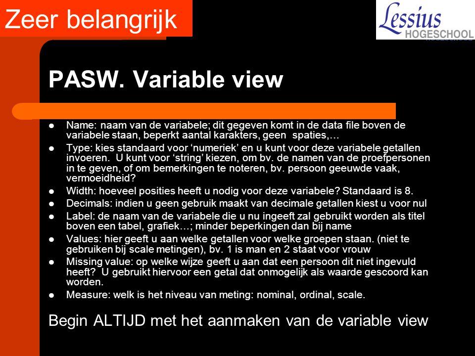 Zeer belangrijk PASW. Variable view