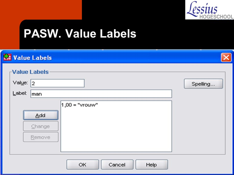 PASW. Value Labels