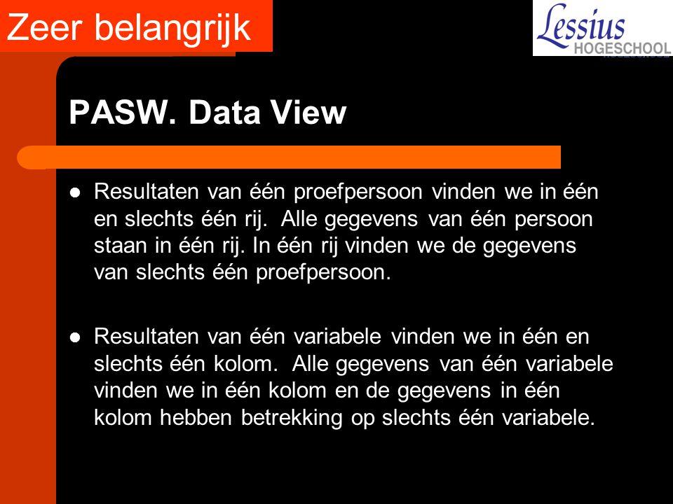 Zeer belangrijk PASW. Data View
