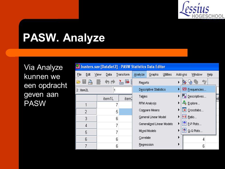 PASW. Analyze Via Analyze kunnen we een opdracht geven aan PASW