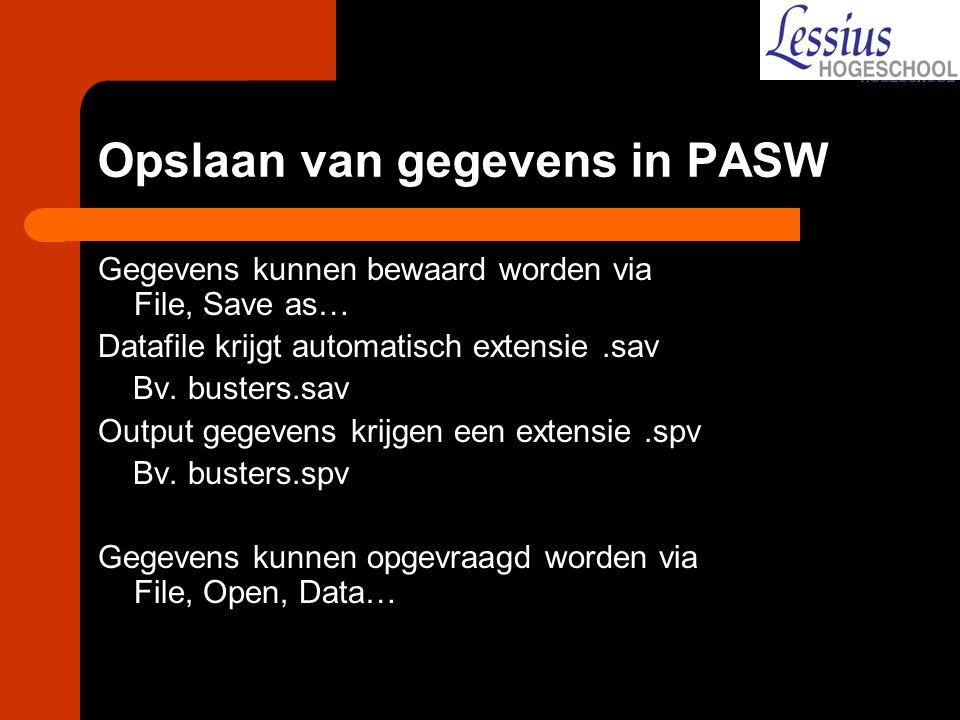 Opslaan van gegevens in PASW