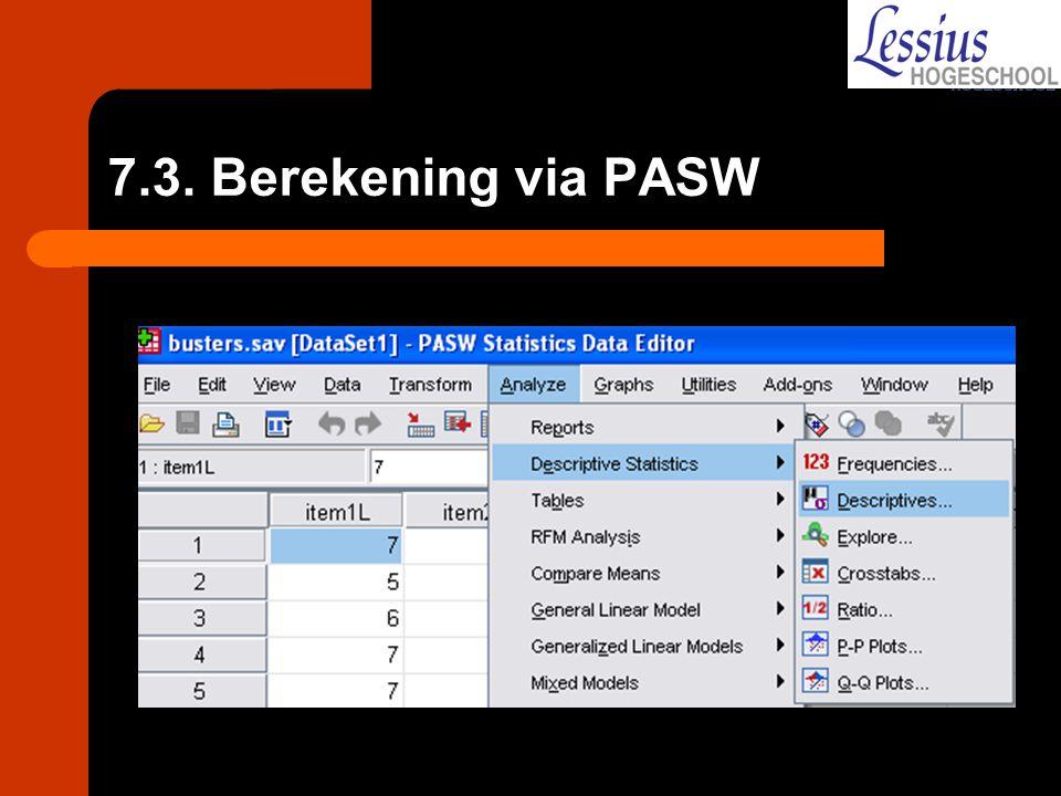 7.3. Berekening via PASW