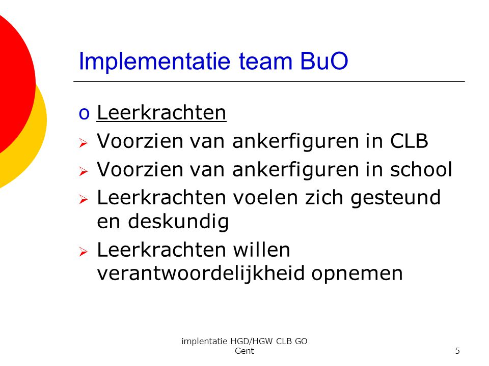 Implementatie team BuO