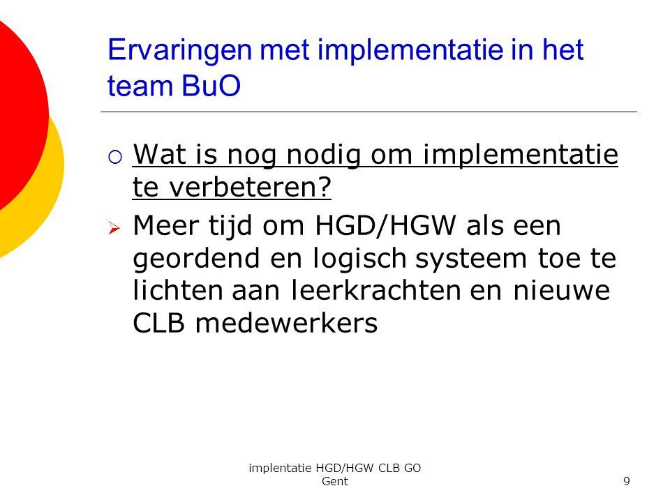 Ervaringen met implementatie in het team BuO