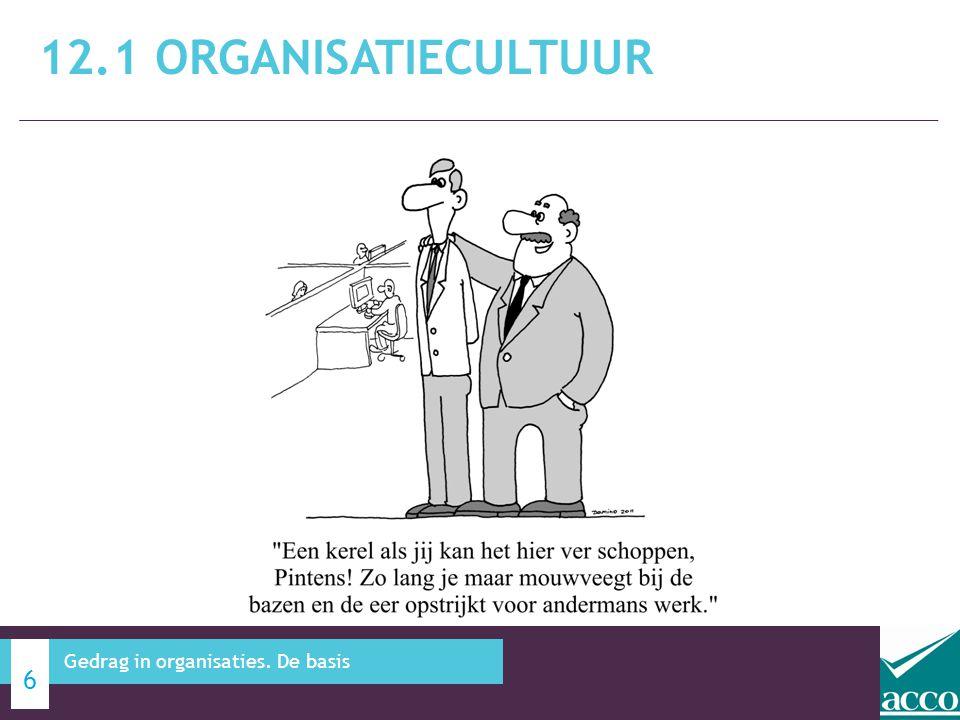 12.1 Organisatiecultuur Gedrag in organisaties. De basis