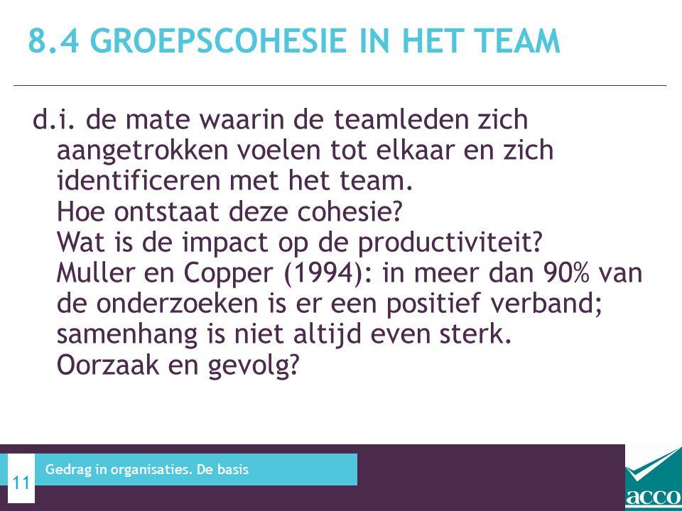 8.4 Groepscohesie in het team