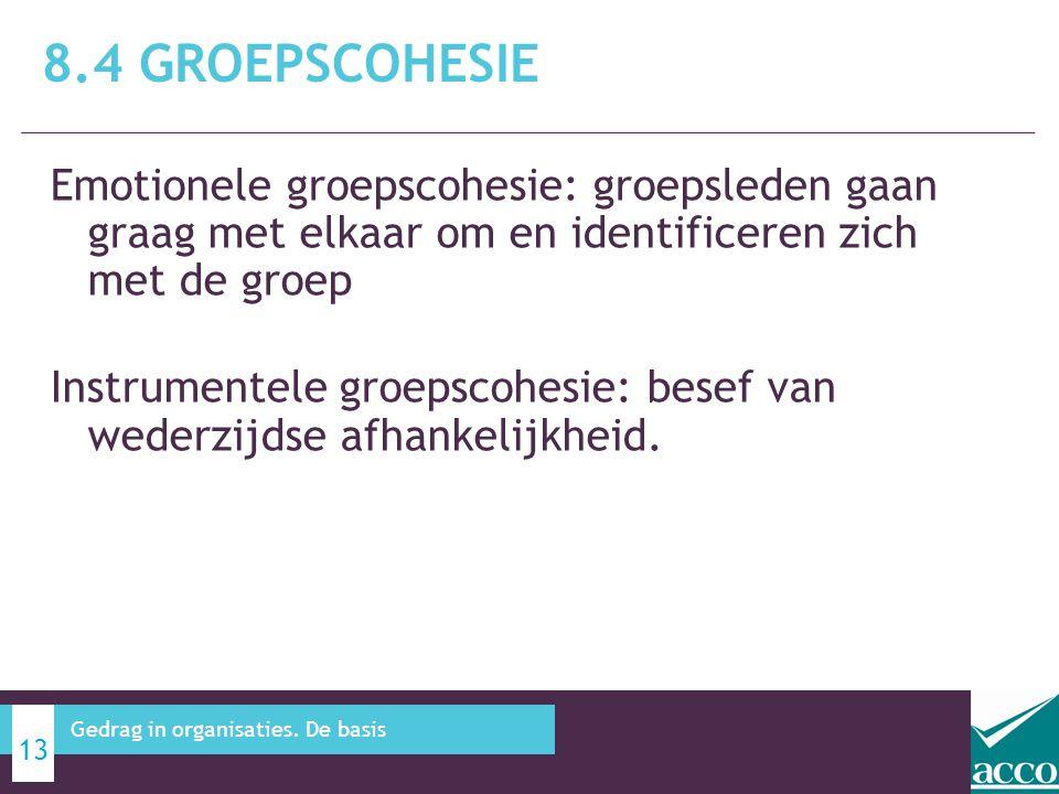 8.4 Groepscohesie