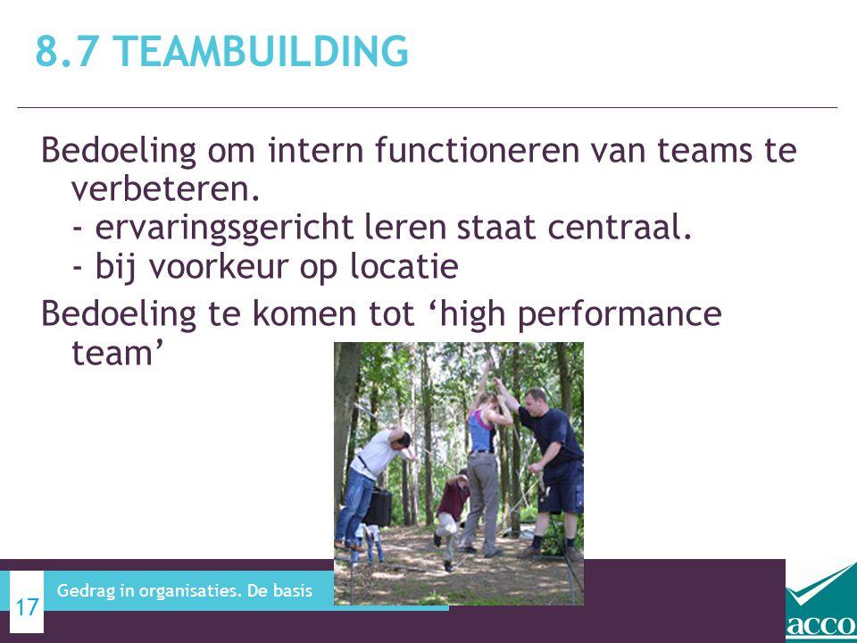 8.7 Teambuilding