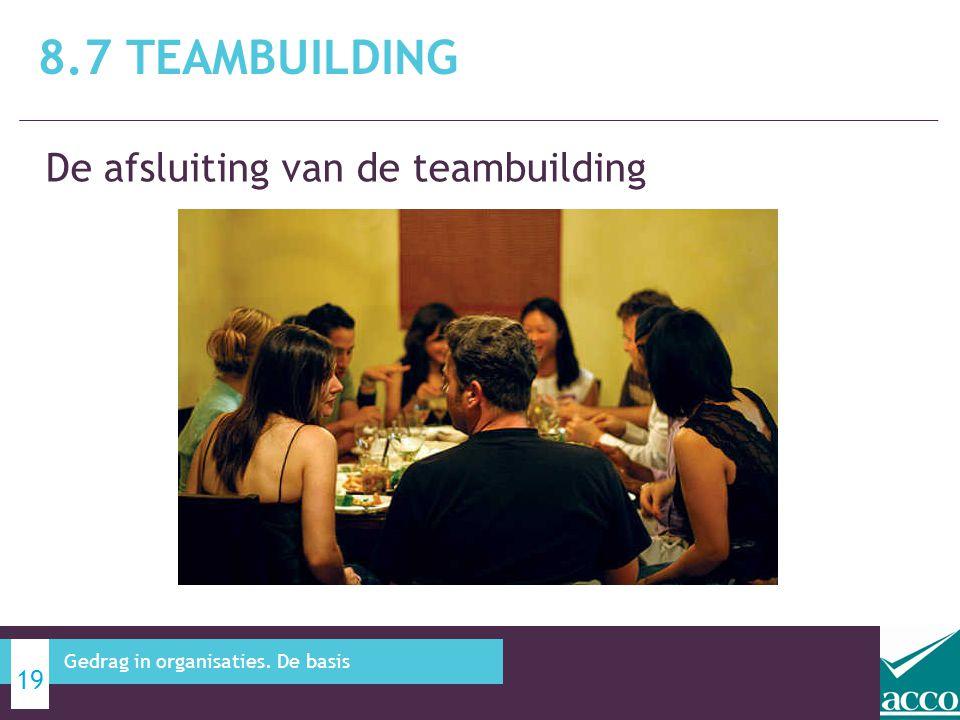 8.7 Teambuilding De afsluiting van de teambuilding