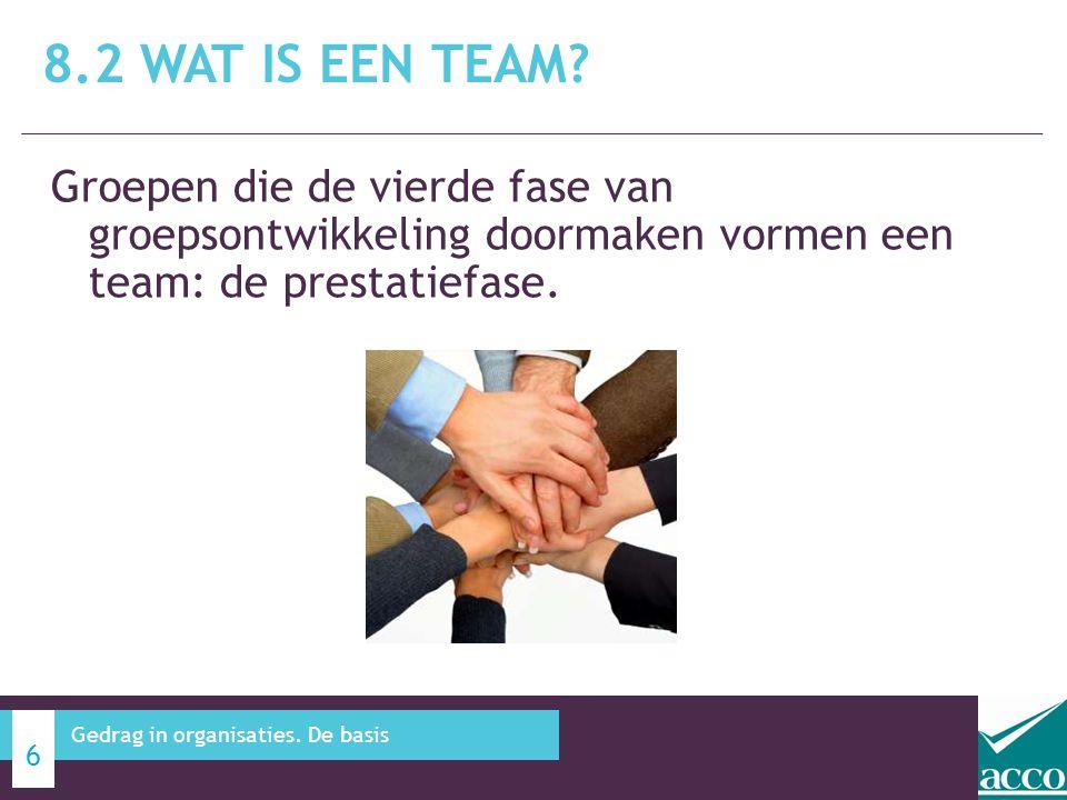 8.2 Wat is een team Groepen die de vierde fase van groepsontwikkeling doormaken vormen een team: de prestatiefase.