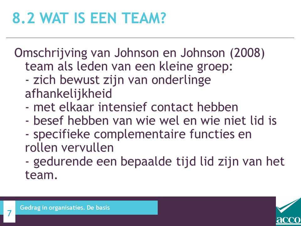8.2 Wat is een team