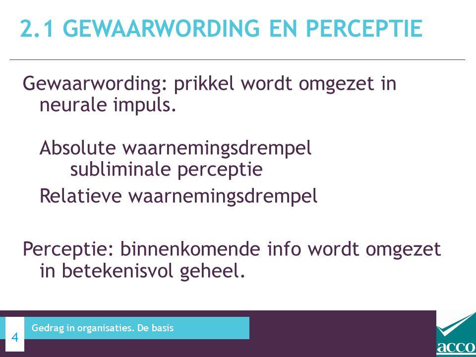 2.1 Gewaarwording en perceptie