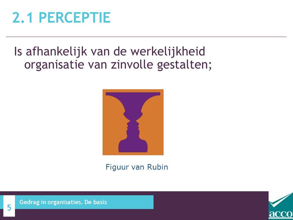 2.1 Perceptie Is afhankelijk van de werkelijkheid organisatie van zinvolle gestalten; Figuur van Rubin.
