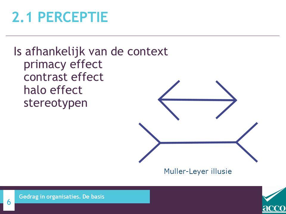 2.1 Perceptie Is afhankelijk van de context primacy effect contrast effect halo effect stereotypen.