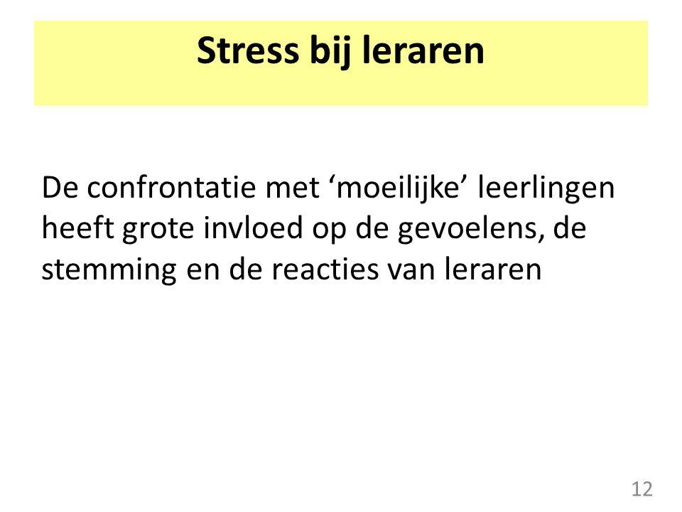 Stress bij leraren De confrontatie met 'moeilijke' leerlingen heeft grote invloed op de gevoelens, de stemming en de reacties van leraren.