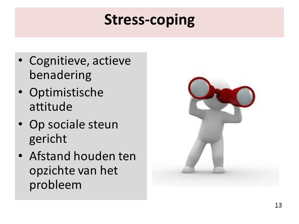 Stress-coping Cognitieve, actieve benadering Optimistische attitude