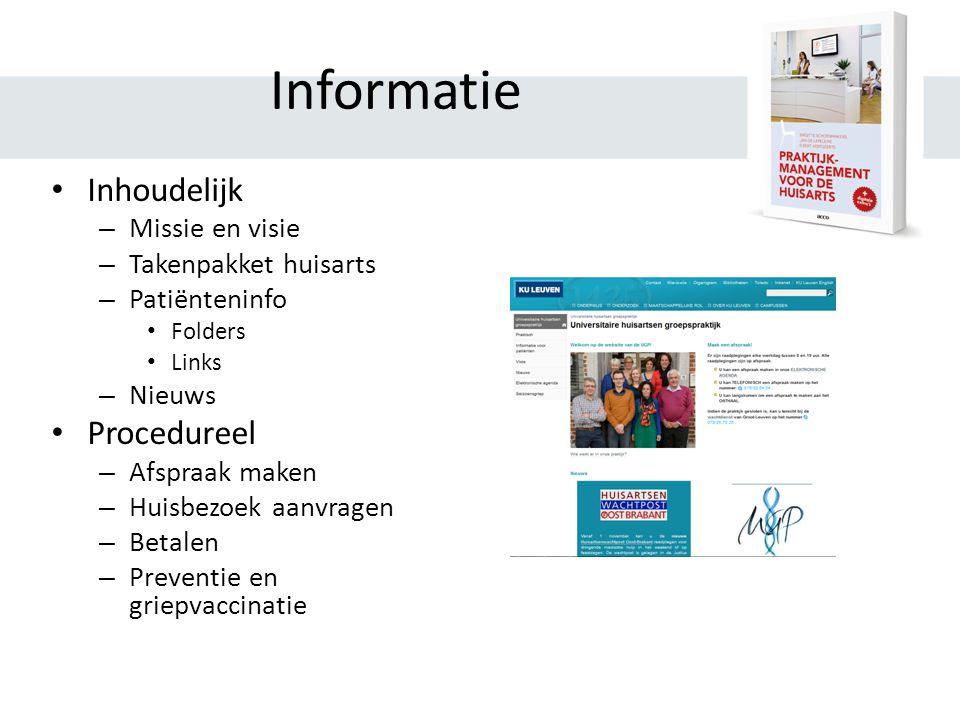 Informatie Inhoudelijk Procedureel Missie en visie