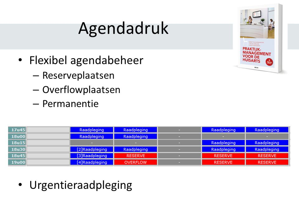 Agendadruk Flexibel agendabeheer Urgentieraadpleging Reserveplaatsen