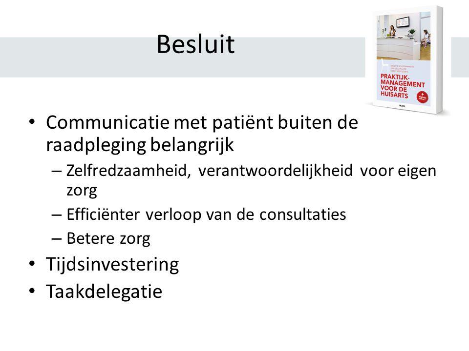 Besluit Communicatie met patiënt buiten de raadpleging belangrijk