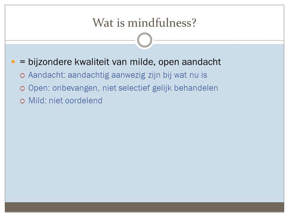 Wat is mindfulness = bijzondere kwaliteit van milde, open aandacht