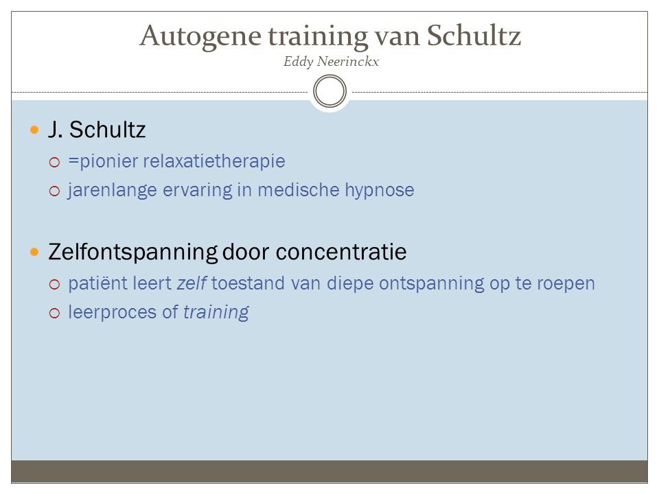 Autogene training van Schultz Eddy Neerinckx
